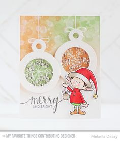 Wow - Santa's Elves stamps give us this cute elf standing in front of not one but TWO shaker ornaments on this handmade Christmas card. Love the use of nontraditional colors of peach and green along with Elvie's red santa hat and coat.