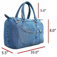 Buy Classic Blue Denim Jean Doctor Style Women Handbag (LL and More Discount Women Top Handle Bags Sale up to off. Denim Purse, Blue Denim Jeans, Denim Bags From Jeans, Denim Handbags, Purses And Handbags, Guess Handbags, Cheap Handbags, Recycle Jeans, Handmade Bags