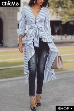 Shop Striped Tied Front Dip Hem Shirt – Discover sexy women fashion at Fascinating Cool Ideas: Woodworking Tools Saw Dust Collection unique woodworking tools cutting boards. Mode Outfits, Chic Outfits, Spring Outfits, Look Fashion, Autumn Fashion, Womens Fashion, Fashion Design, Fashion Trends, Ladies Fashion