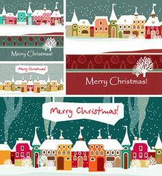 冬の雪景色,町並み,家,建物,枯れ木,ホワイトクリスマス背景イメージ ベクターイラスト素材