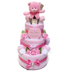 Popular stunning large 3 Tier Baby Girl Nappy Cake for baby girl contains high quality items and would be a great gift for a baby shower.