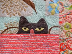 close up,  Bird Watching by Kay Eccleston, quilted by Lynne Horpendahl. Photo by Quilting Mod by Afton Warrick: 2014 Quilt Fiesta (New Mexico)
