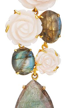Mother Of Pearl Carved Rose And Labradorite Drop Earrings  by BOUNKIT Now…