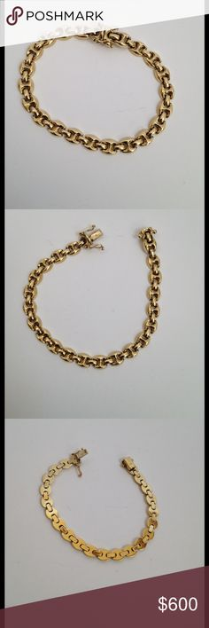 "585 14K Italy Yellow Gold Status Link Bracelet Gorgeous Italian designer status link solid 14KT Yellow Gold bracelet. Hallmarked 585 Italy. Very nice weight and feel.  About 13.63 grams, 7.5"" length. Have loved and worn it for a long time, now it's time to let it go.  Shows normal, superficial wear.  Push in and double fold over security clasp. I don't need to sell it, am not accepting offers or trades, and PRICE IS FIRM. Posh Concierge service included. ❤️ Jewelry Bracelets"