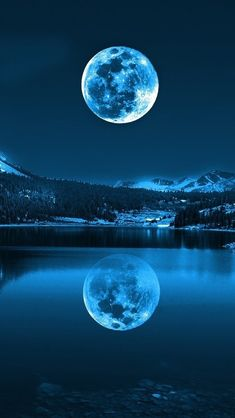 """How often does a full moon occur twice in a single month? Exactly once in a Blue Moon.The term """"Blue Moon"""" refers to the second Full Moon in a month. Moon Moon, Blue Moon, Moon River, The Moon Is Blue, Dark Moon, Moon Art, Moon Phases, Beautiful Scenery, Beautiful Landscapes"""