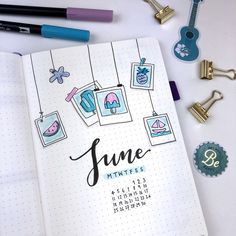 All set up in my bullet journal for June! I knew I wanted the theme to be relate… All set up in my bullet journal for June! I knew I wanted the theme to be related to summer. So, in the end I decided to go with a… Planner Bullet Journal, Bullet Journal Spread, Bullet Journal Layout, Bullet Journal Inspiration, Bullet Journal Cover Ideas, Bullet Journal Months, Back To School Bullet Journal, Bullet Journal Savings Tracker, Bullet Journal Birthday Tracker