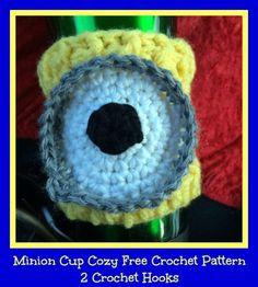 minion cup cozy free crochet pattern 2 crochet hooks