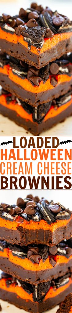 Loaded Cream Cheese Halloween Brownies - Averie Cooks Ultra fudgy Halloween brownies topped with a layer of orange cream cheese, sandwich cookies, and chocolate chips! The perfect EASY Halloween treat! Halloween Brownies, Halloween Desserts, Easy Halloween, Halloween Treats, Halloween Goodies, Halloween 2019, Halloween Stuff, Brownie Toppings, Brownie Recipes