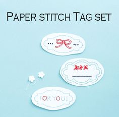 【予約販売】タグセット(水色)・紙刺繍キット   net store ~アンナとラパン