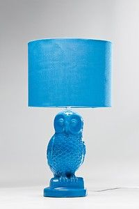 Retro Style Blue Owl Table Lamp with Blue Lamp Shade | eBay