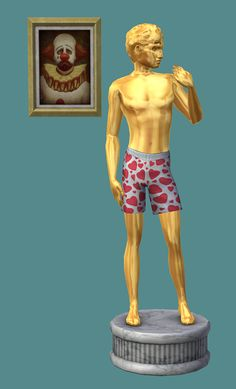 """TS2 Recreations of the TS1 Livin' Large Tragic Clown Paiting and Kitschy David Sculpture (My contribution to the "" Night at the Museum""…"