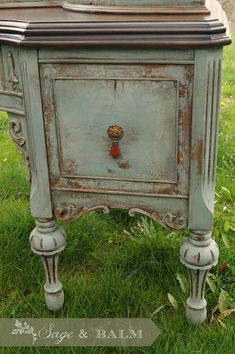 SOLD Blue antique shabby chic chalk painted distressed