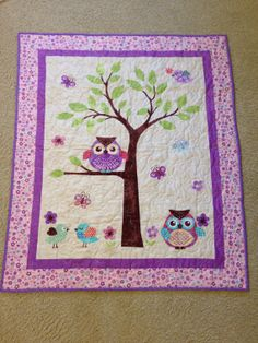 Whoo Loves You Baby Girl Quilt or Wall by Creationsbyweezie, $60.00