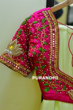 Neon green pure chiffon saree paired up with pink hand worked blouse.Blouse available in all Sizes and further customization can be done.Price : 5750/-To place order please contact on whats app : 9701673187 orEmail : purandhistore@gmail.com  07 March 2018
