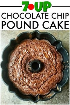 7-Up Chocolate Chip Pound Cake is a fun twist on the classic 7-Up Pound Cake recipe | Persnickety Plates via @pplates