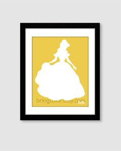 Princess Belle Silhouette Wall Art Print 8X10 for by BringColor