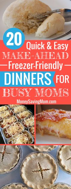The freezer-friendly dinners are perfect for busy moms! Simplify life and meal planning with these 20 great recipe ideas that can be made ahead of time and frozen for later!