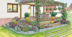Auf einer erhöht liegenden Terrasse sitzt man wie auf dem Präsentierteller. Mit einer geschickten Gestaltung und Pflanzenauswahl lässt sich das ändern. Hier finden Sie zwei Gestaltungsideen mit Pflanzplänen zum Herunterladen und Nachpflanzen.