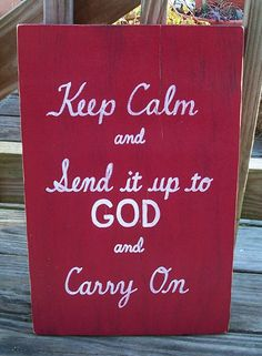 Keep Calm God SIGN Subway Red Distressed by WeHaveAGreatNotion,