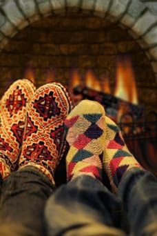 winter warmth... socks and fireplaces are the best combination during Christmas time.