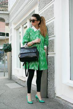 Painters smock-dress w leggings and heels