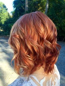 Cute Red Hair Color with Blonde Highlights