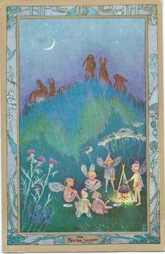 F. Harrison Rabbits watch Fairies have camp fire