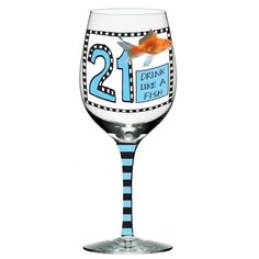 Enesco Hoots N Howlers 21st Birthday Drink Like a Fish Goldfish Wine Glass 8875Inch ** To view further for this item, visit the image link.Note:It is affiliate link to Amazon.