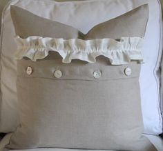 20 x 20 Pillow Cover 100% Flax Linen, Mother of Pearl Vintage button closure with gathered ruffle 28.00