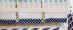 Crib Skirt Aqua Navy & Lime Green 17 Tailored  by NewArrivalsInc