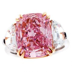 The 2.10-carat fancy pink diamond in this platinum ring by Dehres Ltd.