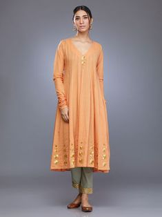 Orange Cotton Mul Anarkali Kurta with Olive Green Pants - Set of 2 Suits For Women, Clothes For Women, Kurta Style, Salwar Designs, Indian Outfits, Indian Clothes, Indian Dresses, Anarkali Dress, Party Wear Dresses
