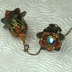 lucite flower earrings | Olive and Amber Lucite Flower Vintage Style Earrings