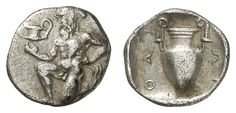 THRACIA, Thasos, silver Trihemiobol, 411 / 350 BC, Aversum: satyr genuflects with kantharos left, reverse: amphora, SNG Cop. 1029.0. 70 g, very fine    Dealer  Auction house Ulrich Felzmann    Auction  Minimum Bid:  80.00 EUR