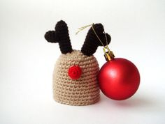 Santa's Rudolph Deer Egg Hat - Egg Warmer - Egg Cozy  christmas hostess. $11.00, via Etsy.