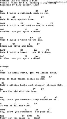 Song Lyrics with guitar chords for Brother Can You Spare A Dime - Bing Crosby, 1932