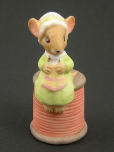 Enesco Mouse on Spool of Thread Figural Thimble (SOLD)