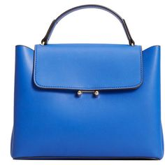 Flap Tote Bag (€36) ❤ liked on Polyvore featuring bags, handbags, tote bags, tote handbags, metallic tote handbags, blue purse, long strap purse and blue handbags