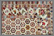 Patchwork quilting is usually associated with America, but it also has a tradition in Europe, particularly in Germany and England. The number of differently patterned printed cottons used in this quilt top, ranging in date from the 1790s to the 1820s, suggests that the maker had access to sample books or samples