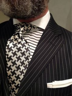 WIW pinstripe suit Polo, horizontal stripe contrasting Keaton collar shirt Purple Label by Ralph Lauren & houndstooth tie by Chester Barrie... #suitandtie