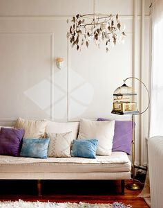It is strange - I am not a big fan of purple but the way it is used here with the blue cushions set against cream is very successful. sfgirlbybay / bohemian modern style from a san francisco girl My Living Room, Home And Living, Living Spaces, Interior Inspiration, Design Inspiration, Brooklyn Apartment, Apartment Porch, Brooklyn House, Brooklyn Brownstone