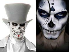 Totenkopf Schminke für Männer in schwarz und weiß