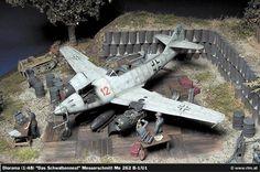 """""""Swallow's nest"""" 1/48 scale. By Christian Jakl. Messerschmitt Me262 B-1/U1 """"Nachtjäger"""".  TAMIYA Me262 A-1a remodeled. German WW2 jet fighter. #diorama #Luftwaffe http://www.rlm.at/cont/gal14_e.htm"""