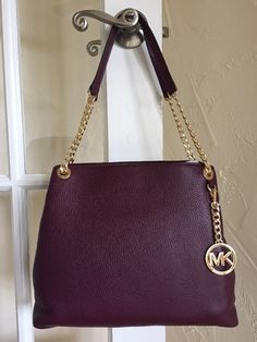 Michael Kors Jet Set Chain Large Shoulder Bag Tote Plum Leather #MichaelKors #ShoulderBagTote