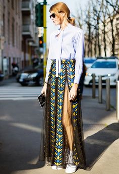 Pussybow Blouse + Sheer Maxi + Sneakers