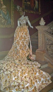 Charles Frederick Worth ballgown with 11 foot train, circa 1888, worn for presentation to Queen Victoria's Court.