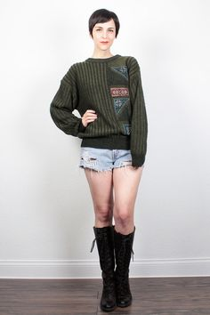 Vintage 80s Sweater Army Olive Green Black Striped Knit 1980s Sweater Patchwork Boyfriend Sweater Pullover Hipster Jumper S Small M Medium by ShopTwitchVintage #1980s #80s #sweater #jumper #boyfriend #pullover #newwave #etsy #vintage