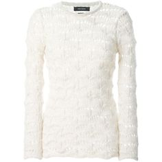 ISABEL MARANT Crochet Sweater (610 CAD) ❤ liked on Polyvore featuring tops, sweaters, lace top, long sleeve tops, white long sleeve sweater, white long sleeve top and crochet lace sweater