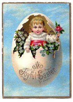 Vintage Clip Art - Precious Child in Egg - The Graphics Fairy