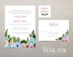 Printable Wedding Invitation : Floral Blue and Pink by ShopPinkInk
